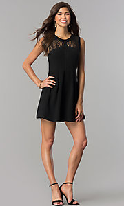 Image of lace-yoke black short party dress with keyhole. Style: BC-GEF61M07 Detail Image 1