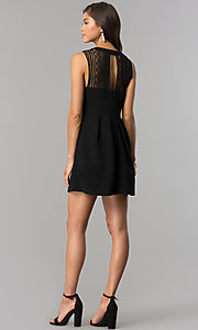Image of lace-yoke black short party dress with keyhole. Style: BC-GEF61M07 Detail Image 2
