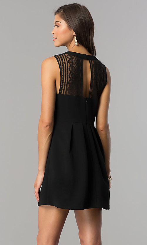 Image of lace-yoke black short party dress with keyhole. Style: BC-GEF61M07 Back Image