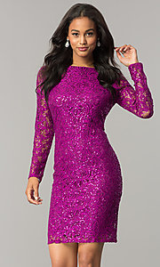 Image of magenta pink short lace party dress with sequins. Style: JU-MA-262559i Front Image