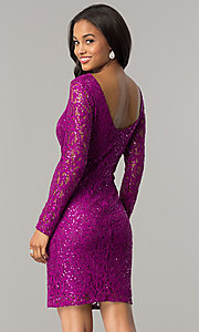 Image of magenta pink short lace party dress with sequins. Style: JU-MA-262559i Back Image