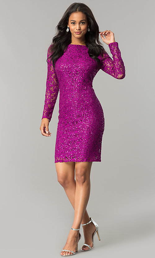 Image of magenta pink short lace party dress with sequins. Style: JU-MA-262559i Detail Image 1