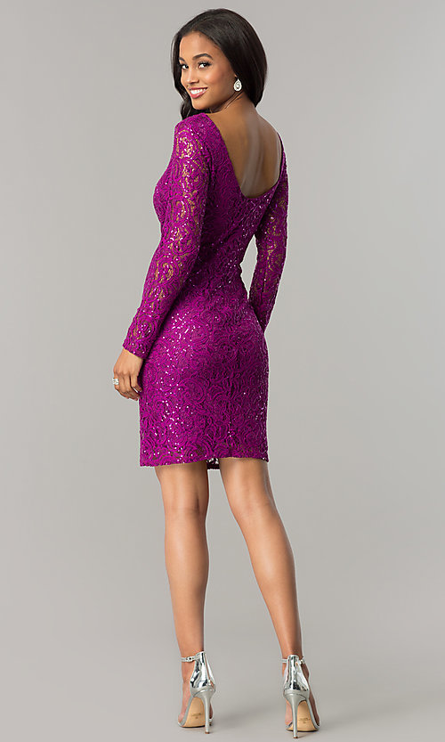 Image of magenta pink short lace party dress with sequins. Style: JU-MA-262559i Detail Image 2