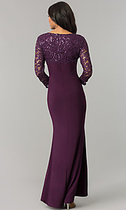 Image of long mother-of-the-bride/groom dress with sleeves. Style: JU-MA-263529 Back Image