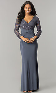 Image of long mother-of-the-bride/groom dress with sleeves. Style: JU-MA-263529 Detail Image 2
