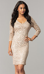 Image of sequin-lace taupe nude party dress with 3/4 sleeves. Style: JU-MA-263550 Front Image