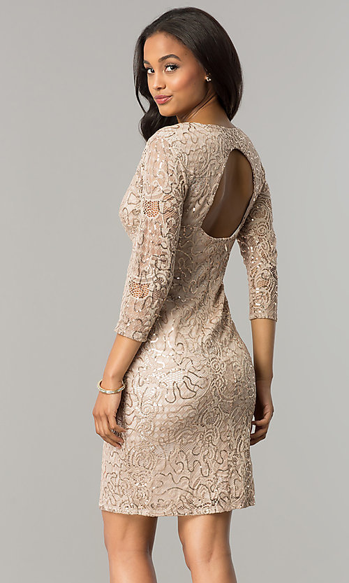 Image of sequin-lace taupe nude party dress with 3/4 sleeves. Style: JU-MA-263550 Back Image