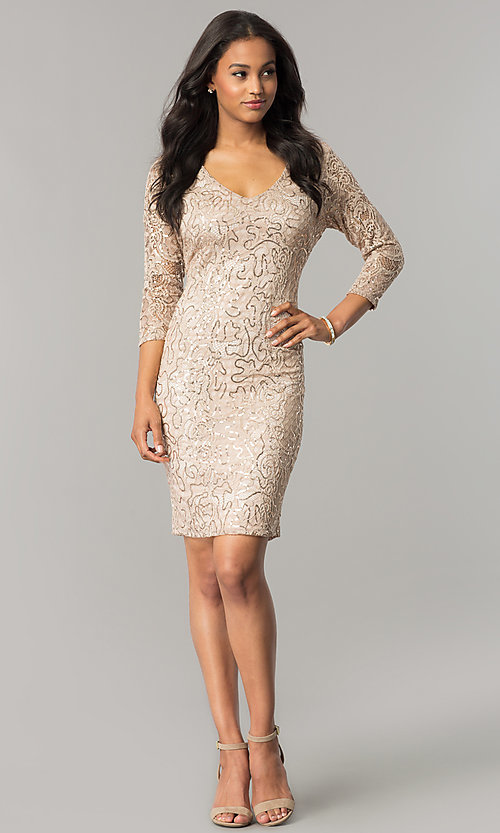 Image of sequin-lace taupe nude party dress with 3/4 sleeves. Style: JU-MA-263550 Detail Image 1