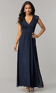 Image of navy blue long chiffon formal dress with ruffles. Style: JU-MA-263613 Front Image