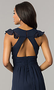 Image of navy blue long chiffon formal dress with ruffles. Style: JU-MA-263613 Detail Image 2