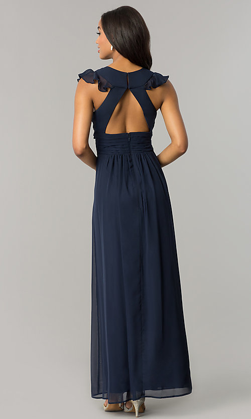 Image of navy blue long chiffon formal dress with ruffles. Style: JU-MA-263613 Back Image
