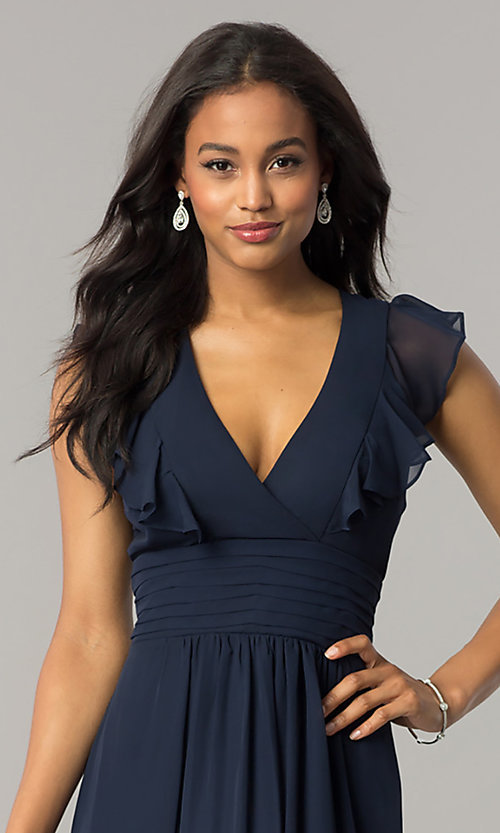 Image of navy blue long chiffon formal dress with ruffles. Style: JU-MA-263613 Detail Image 1