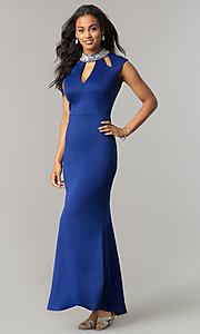 Long Iris Blue Formal Mother-of-the-Bride Dress