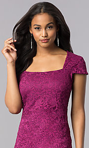 Image of short lace cap-sleeve party dress with back cut out. Style: JU-MA-263633 Detail Image 1