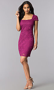 Image of short lace cap-sleeve party dress with back cut out. Style: JU-MA-263633 Detail Image 2