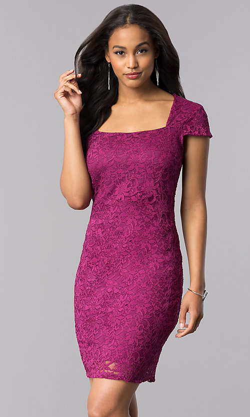 Image of short lace cap-sleeve party dress with back cut out. Style: JU-MA-263633 Front Image