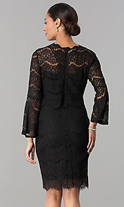 Image of knee-length long-sleeve popover-bodice party dress. Style: JU-MA-263678 Back Image