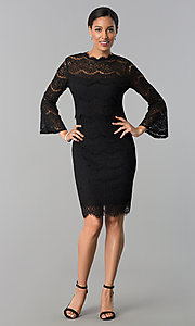 Image of knee-length long-sleeve popover-bodice party dress. Style: JU-MA-263678 Detail Image 2