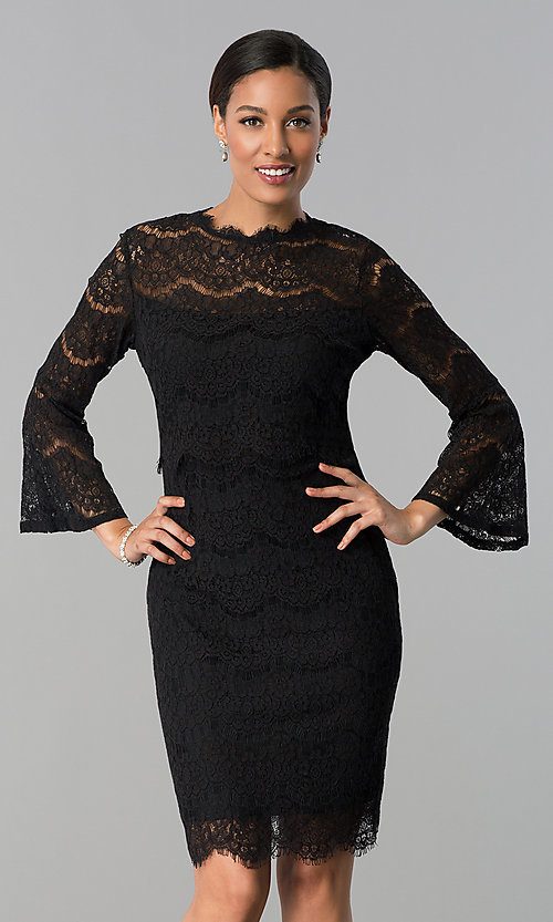 Image of knee-length long-sleeve popover-bodice party dress. Style: JU-MA-263678 Front Image