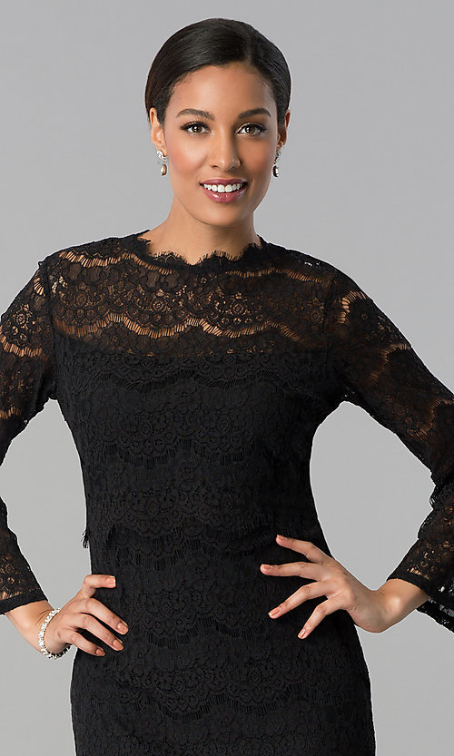 Image of knee-length long-sleeve popover-bodice party dress. Style: JU-MA-263678 Detail Image 1