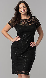 Sequin-Lace Short Knee-Length Lace Party Dress