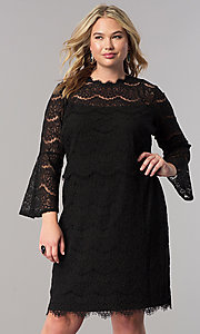 Short Black Lace Shift Party Dress