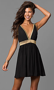 Image of short cut-out-back homecoming party dress in black. Style: CQ-7117A Front Image
