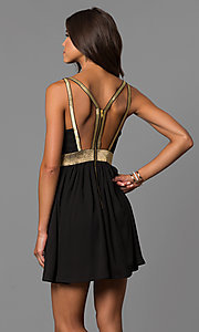 Image of short cut-out-back homecoming party dress in black. Style: CQ-7117A Back Image