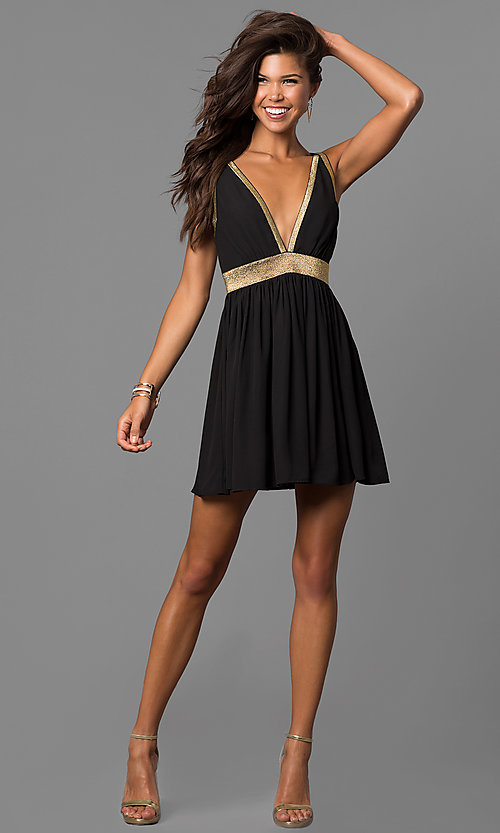 Image of short cut-out-back homecoming party dress in black. Style: CQ-7117A Detail Image 1