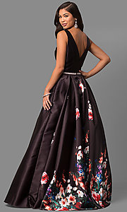 Image of long v-neck floral-print prom dress with pockets. Style: DQ-9920 Back Image