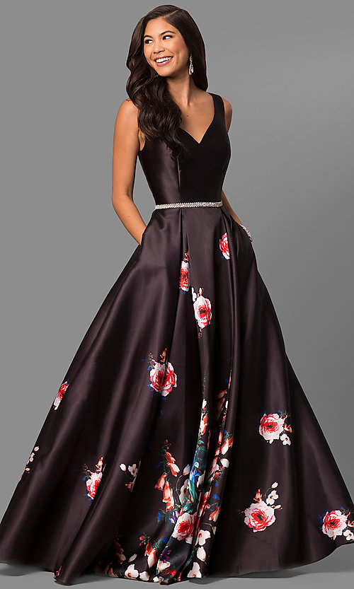 86186b48a04 Image of long v-neck floral-print prom dress with pockets. Style