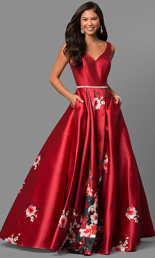 Image of long v-neck floral-print prom dress with pockets. Style: DQ-9920 Detail Image 2