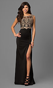 Image of long black prom dress with beaded embroidered bodice. Style: DQ-9845 Front Image