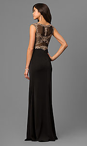 Image of long black prom dress with beaded embroidered bodice. Style: DQ-9845 Back Image