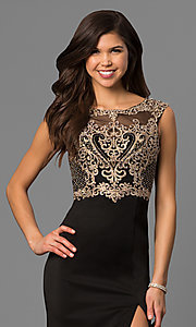 Image of long black prom dress with beaded embroidered bodice. Style: DQ-9845 Detail Image 1
