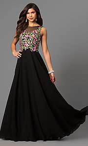 Black Long Prom Dress with Embroidery