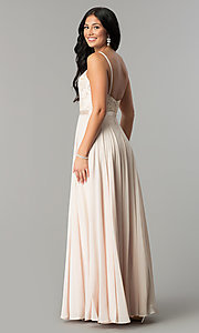 Image of long scoop-neck prom dress with embroidered bodice. Style: DQ-9914 Back Image