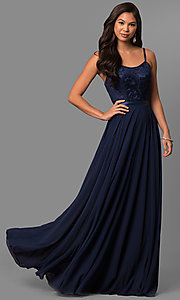 Image of long scoop-neck prom dress with embroidered bodice. Style: DQ-9914 Front Image