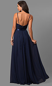 Image of long scoop-neck prom dress with embroidered bodice. Style: DQ-9914 Detail Image 5