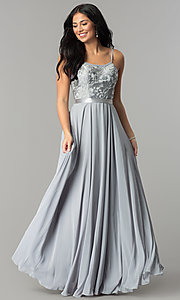 Image of long scoop-neck prom dress with embroidered bodice. Style: DQ-9914 Detail Image 6