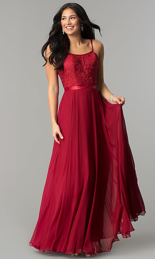 Image of long scoop-neck prom dress with embroidered bodice. Style: DQ-9914 Detail Image 1