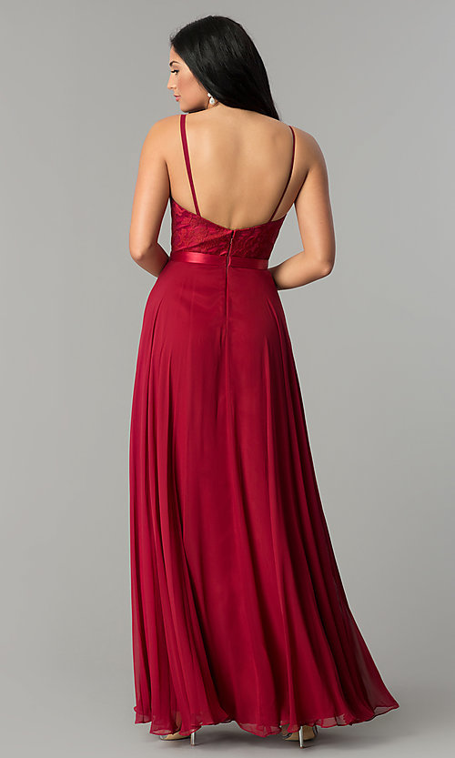 Image of long scoop-neck prom dress with embroidered bodice. Style: DQ-9914 Detail Image 2