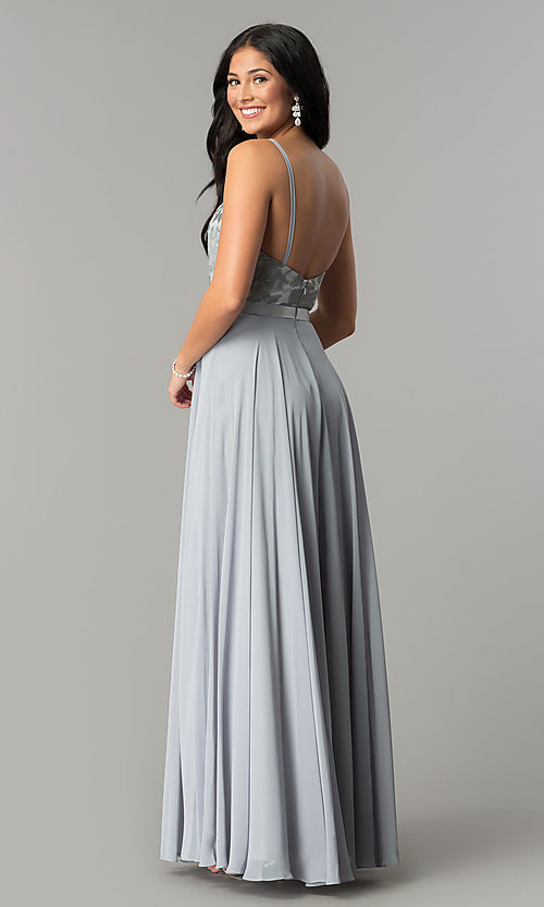 Image of long scoop-neck prom dress with embroidered bodice. Style: DQ-9914 Detail Image 7
