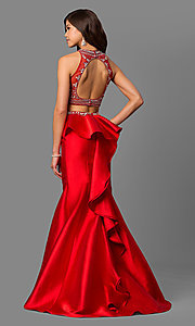 Long High-Neck Beaded-Bodice Prom Dress with Ruffle