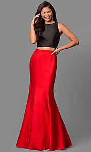 Image of v-back two-piece mermaid prom dress with ruffle. Style: DQ-9767 Detail Image 1