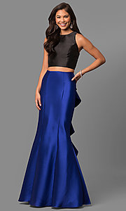 Image of v-back two-piece mermaid prom dress with ruffle. Style: DQ-9767 Back Image