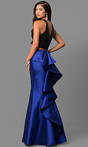 Image of v-back two-piece mermaid prom dress with ruffle. Style: DQ-9767 Front Image