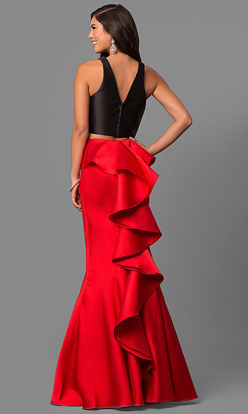 Image of v-back two-piece mermaid prom dress with ruffle. Style: DQ-9767 Detail Image 2