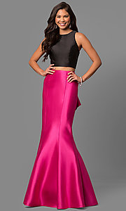 Image of mermaid two-piece long prom dress with ruffle. Style: DQ-9767F Back Image