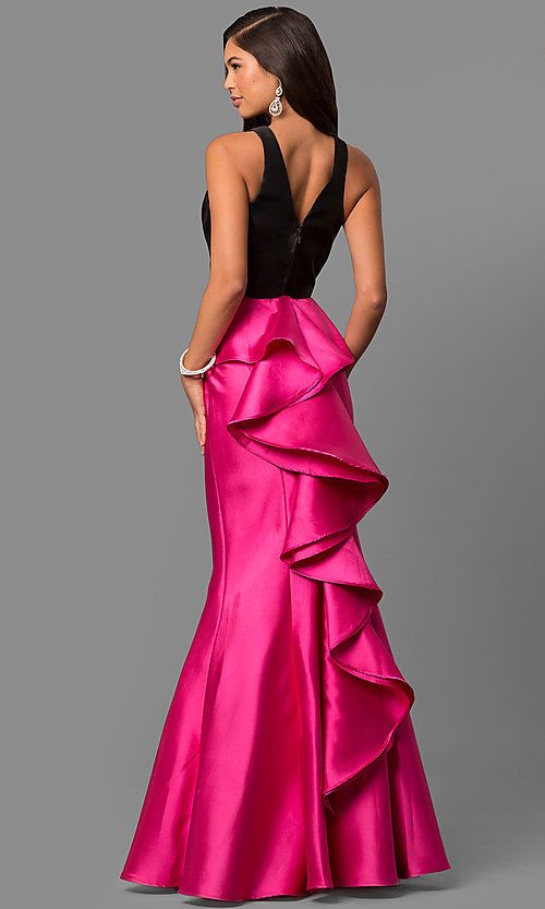 Image of mermaid two-piece long prom dress with ruffle. Style: DQ-9767F Front Image